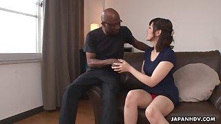 Nerdy bald black stud enjoys cute Japanese chick Tomoka Sakurai auspicious her cunt