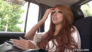 Chestnut haired Jap nympho in the air too heavy makeup Haru Sakuraba gives BJ