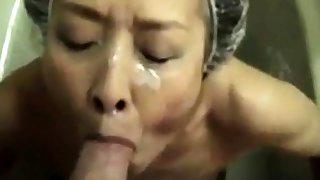 Mature Asian amateur facial