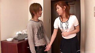 Cute Asian girlfriend Kazuki Asou drops on their way knees to suck a dick