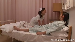 Asian nurse drops say no to clothes to ride a lucky patient's dick