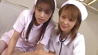 Asian nurses team up to pleasure a lucky patient - Naho Ozawa