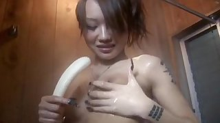 Amazing solo play along young Asian babe, Luna