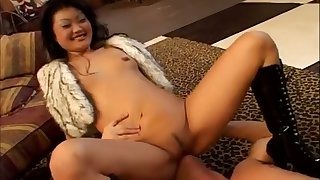 An impossibly nasty Asian nympho facesits her man forwards sucking his cock